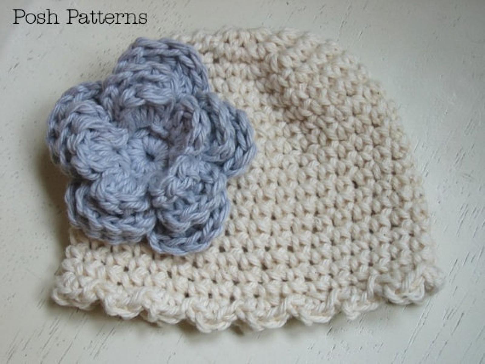 Crochet Pattern Ruffle Edge Hat Amp Flower Sizes Baby To Adult