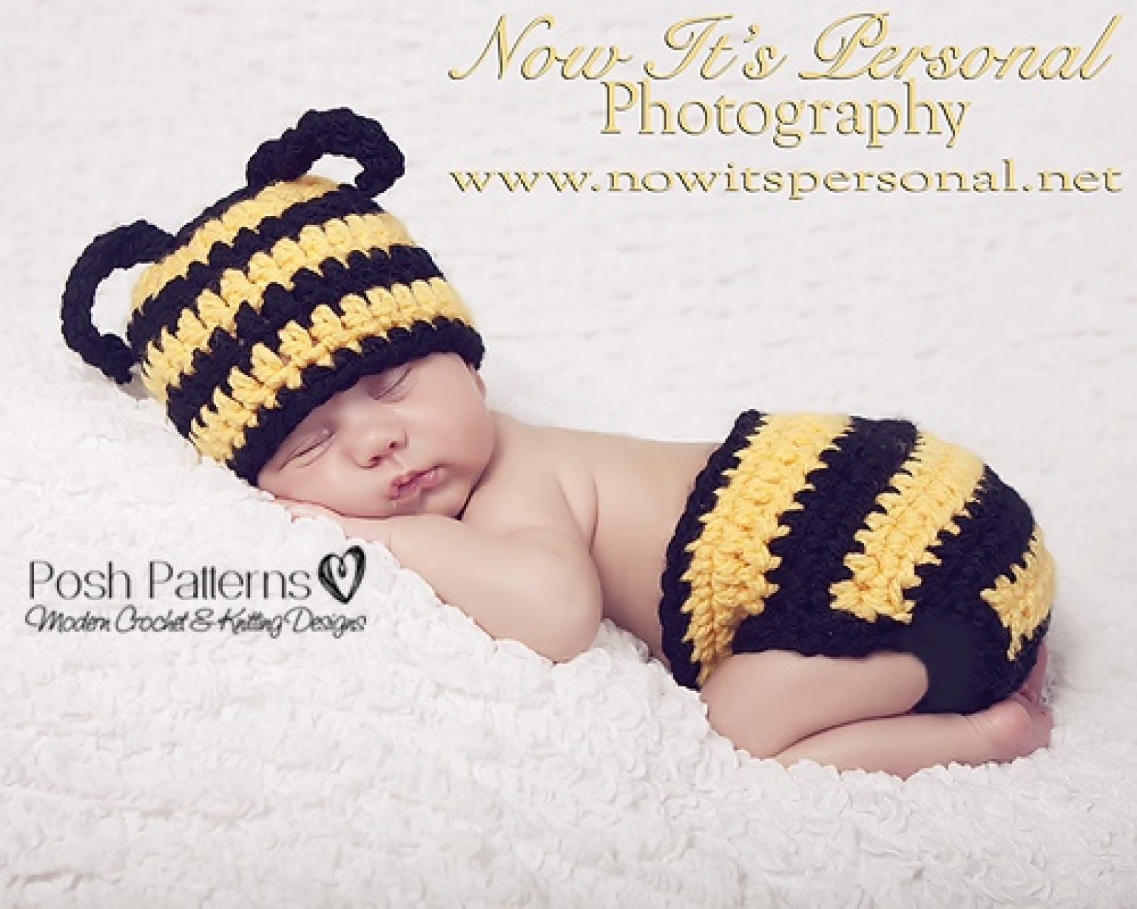 Crochet Patterns Baby Bumble Bee Hat and Diaper Cover