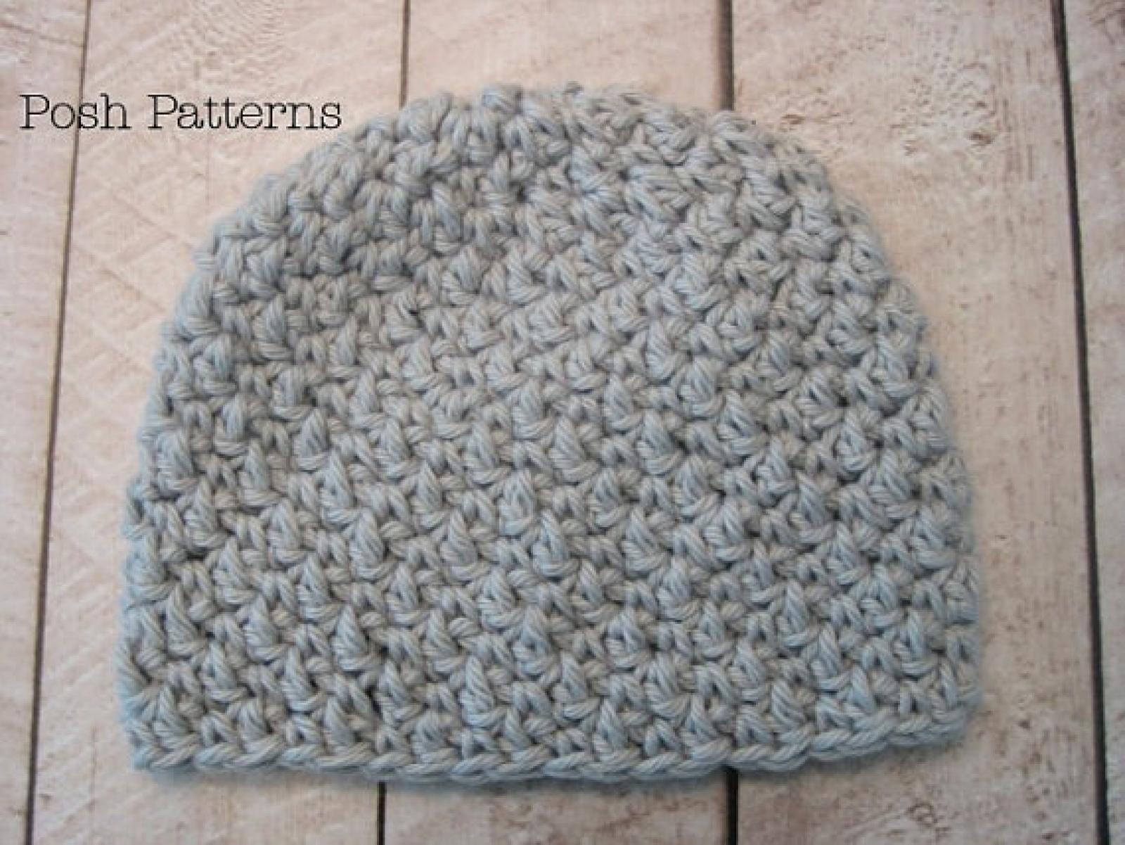 Crochet Baby Hat Pattern Textured Baby Beanie Hat