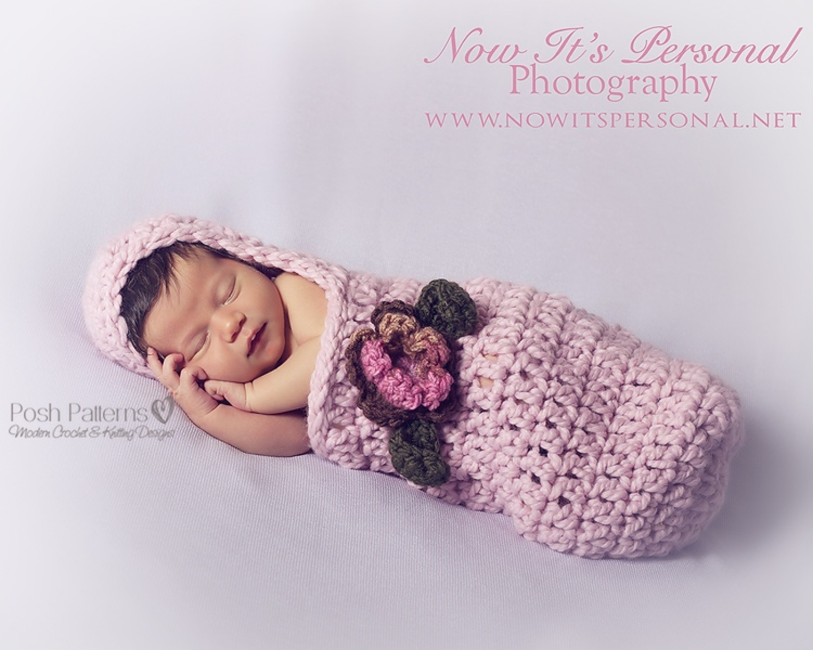 Crochet Pattern Hooded Baby Cocoon With Flower And Leaves