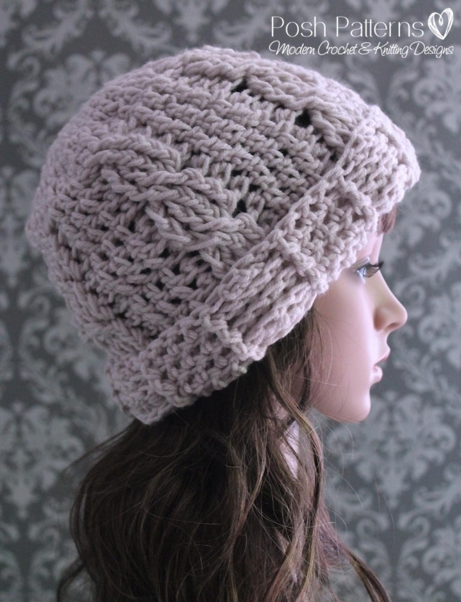 Slouchy Hat Crochet Pattern Crochet Cable Hat