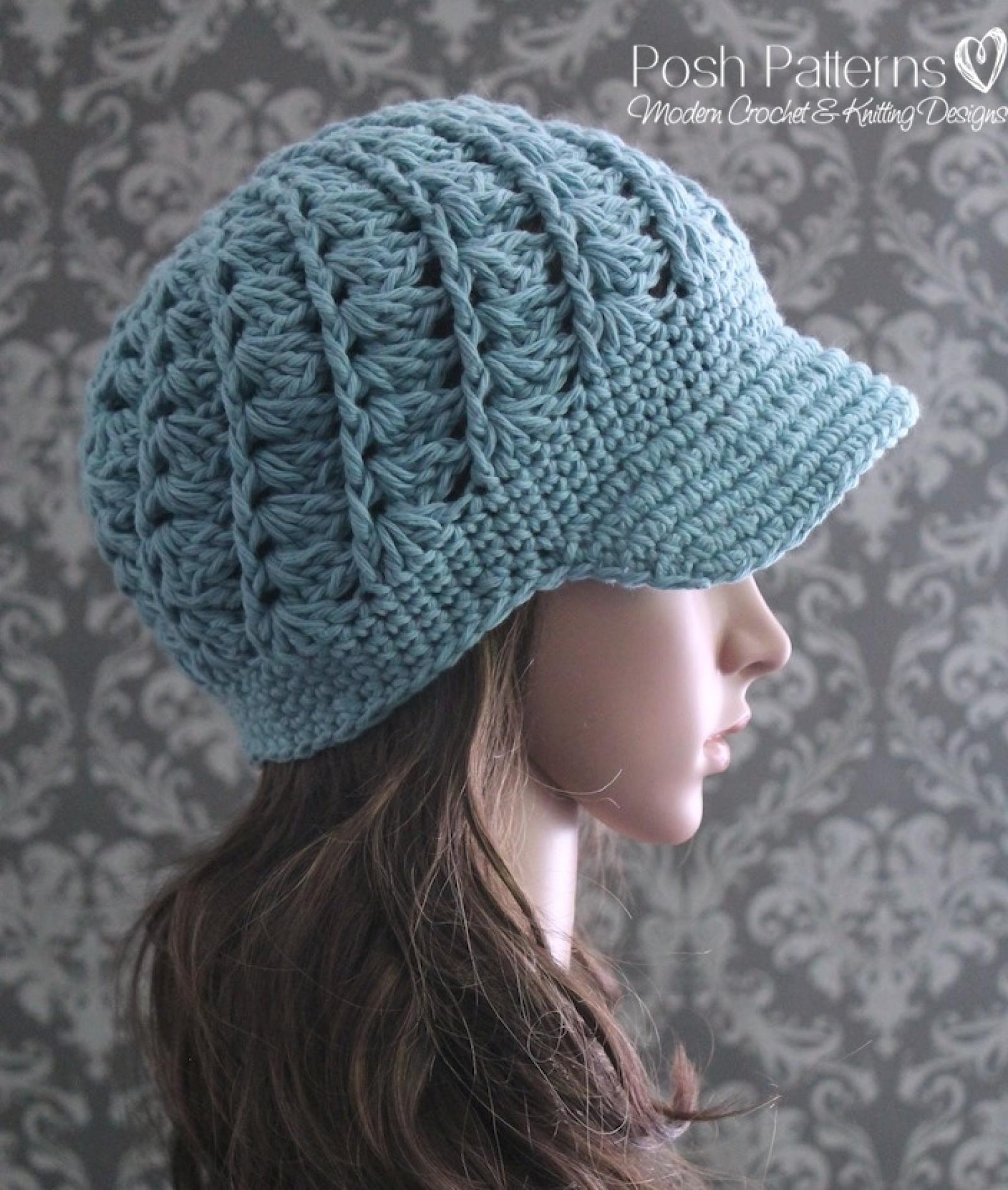 Crochet Newsboy Hat Pattern Spiral Shell Visor Hat