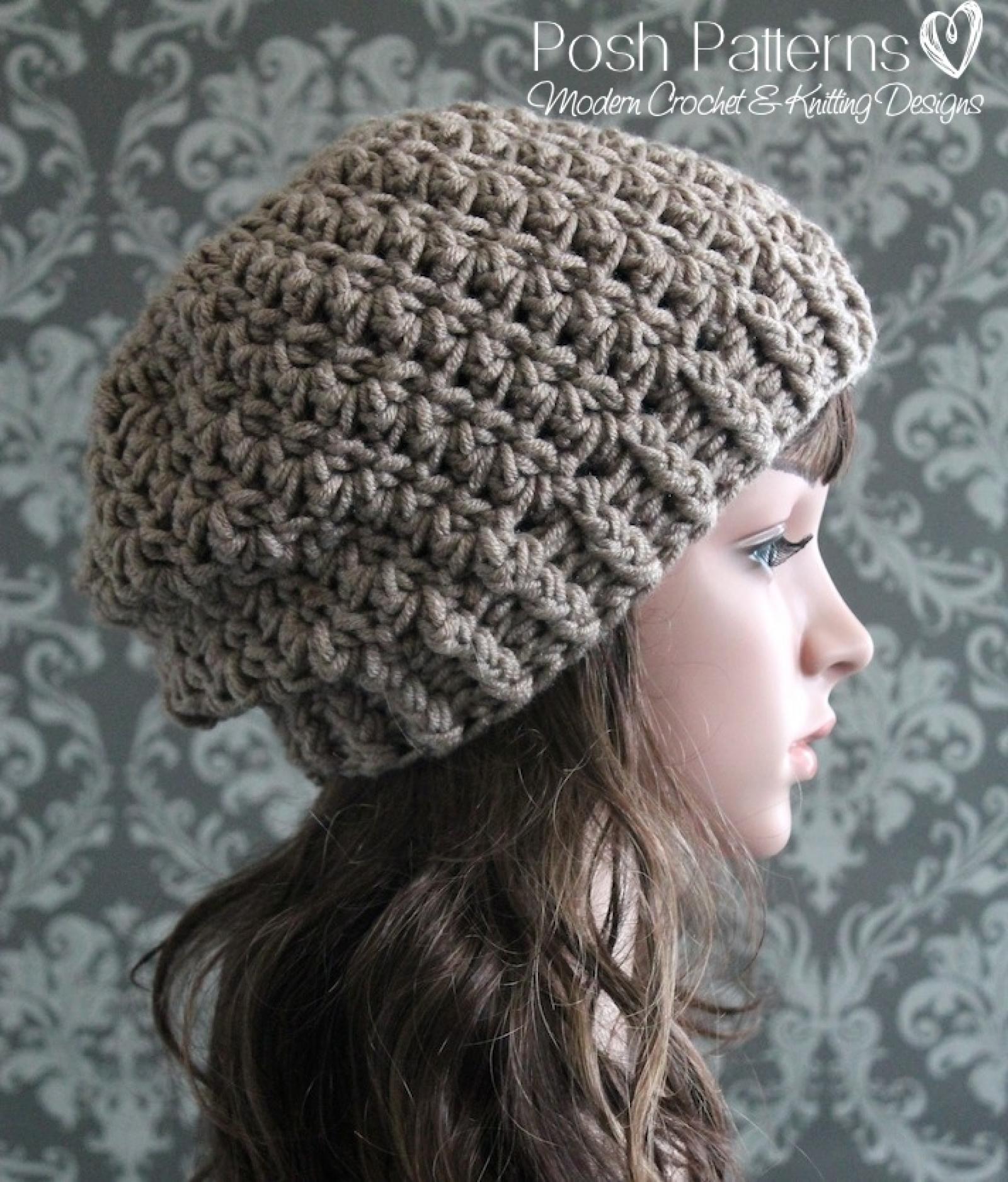 Shell Stitch Slouchy Hat Crochet Pattern