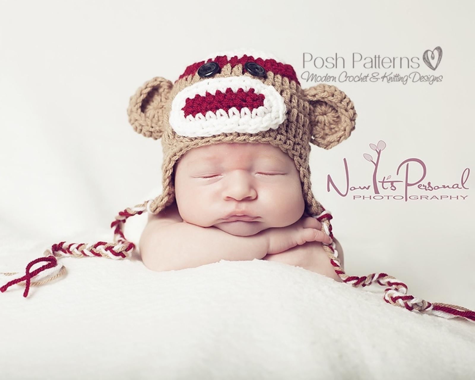 Crochet Pattern Sock Monkey Baby Hat