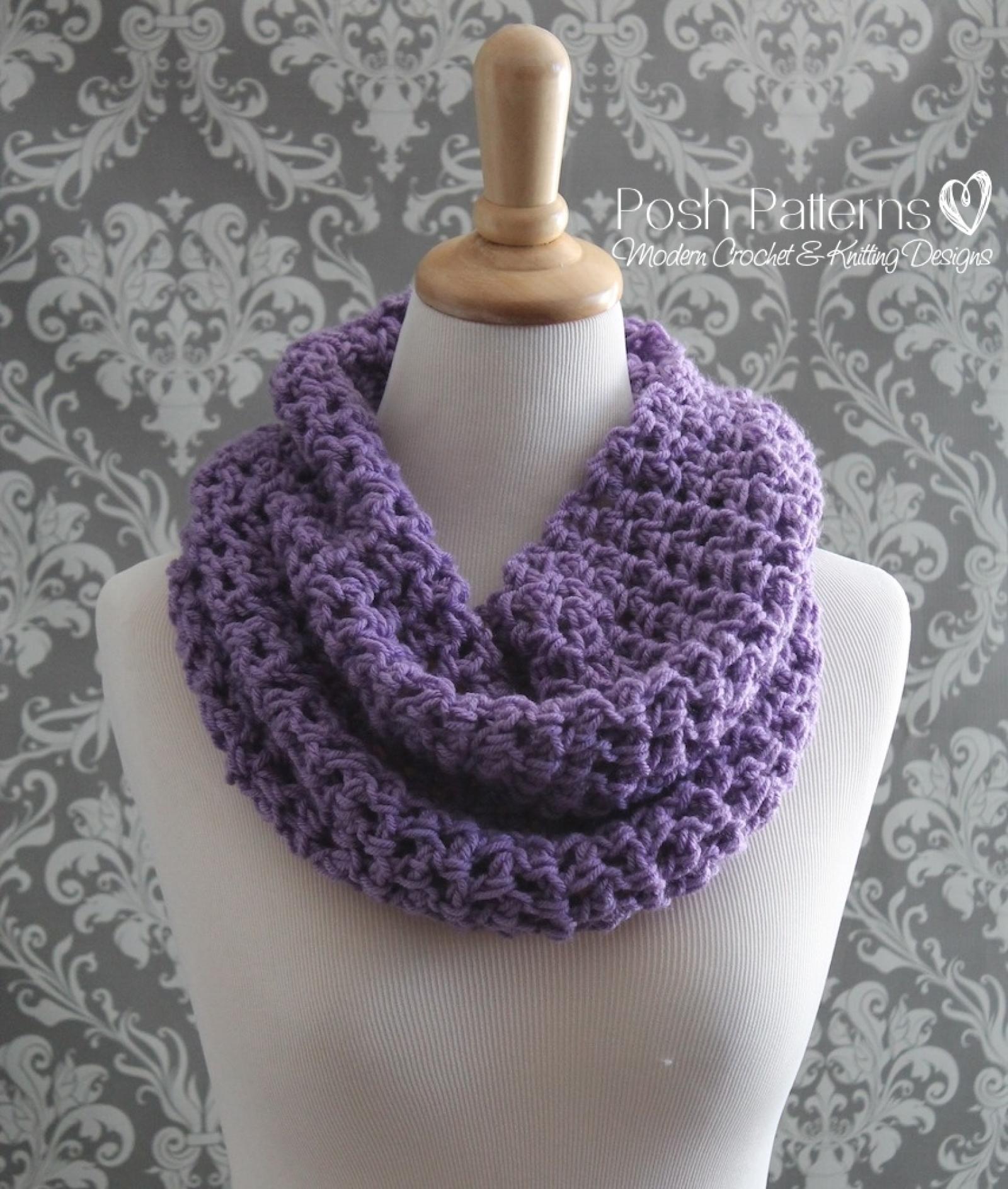 Crochet Cowl Pattern Easy Infinity Scarf Pattern