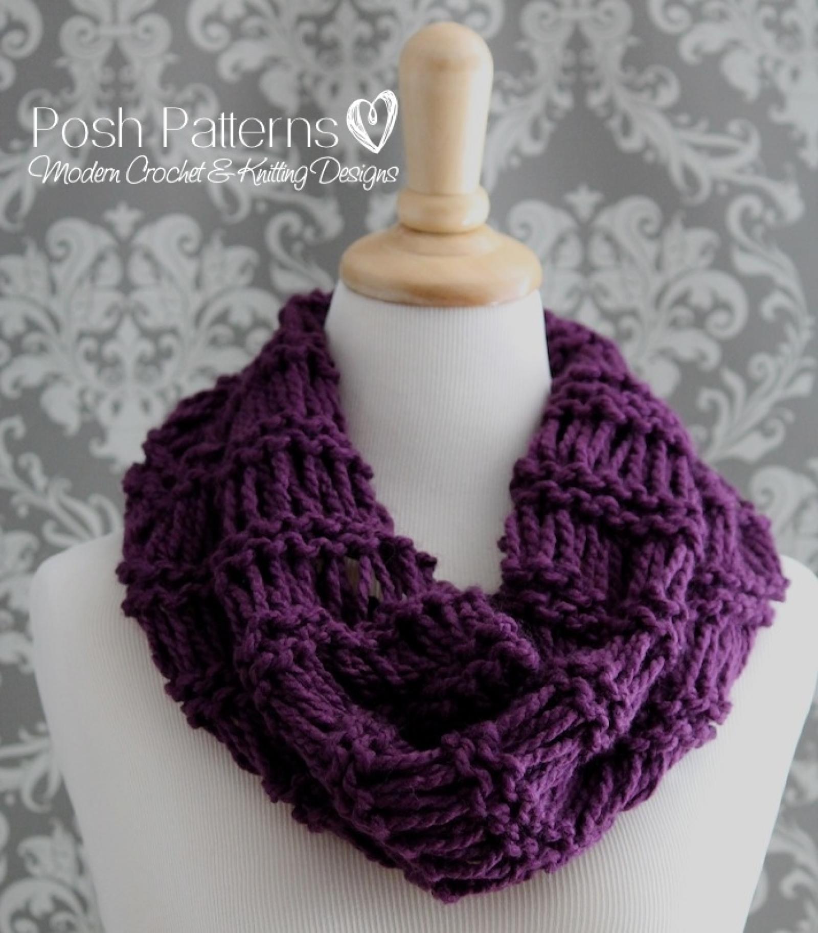 Knitting Pattern Easy Drop Stitch Infinity Scarf