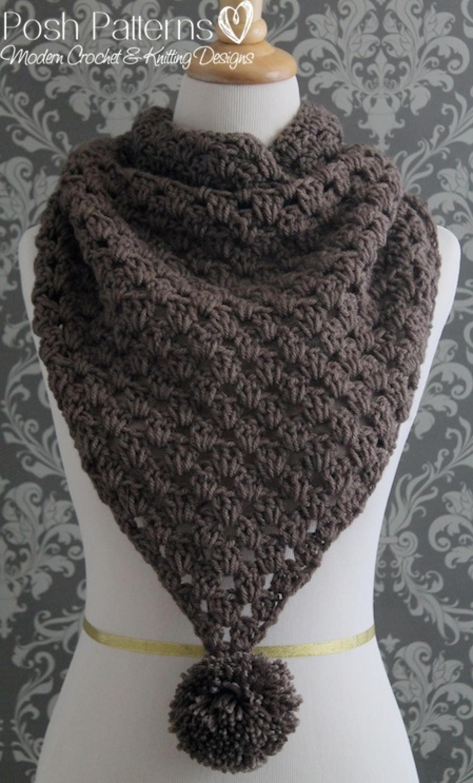 Crochet Pattern Triangle Scarf Pattern Cowl Pattern