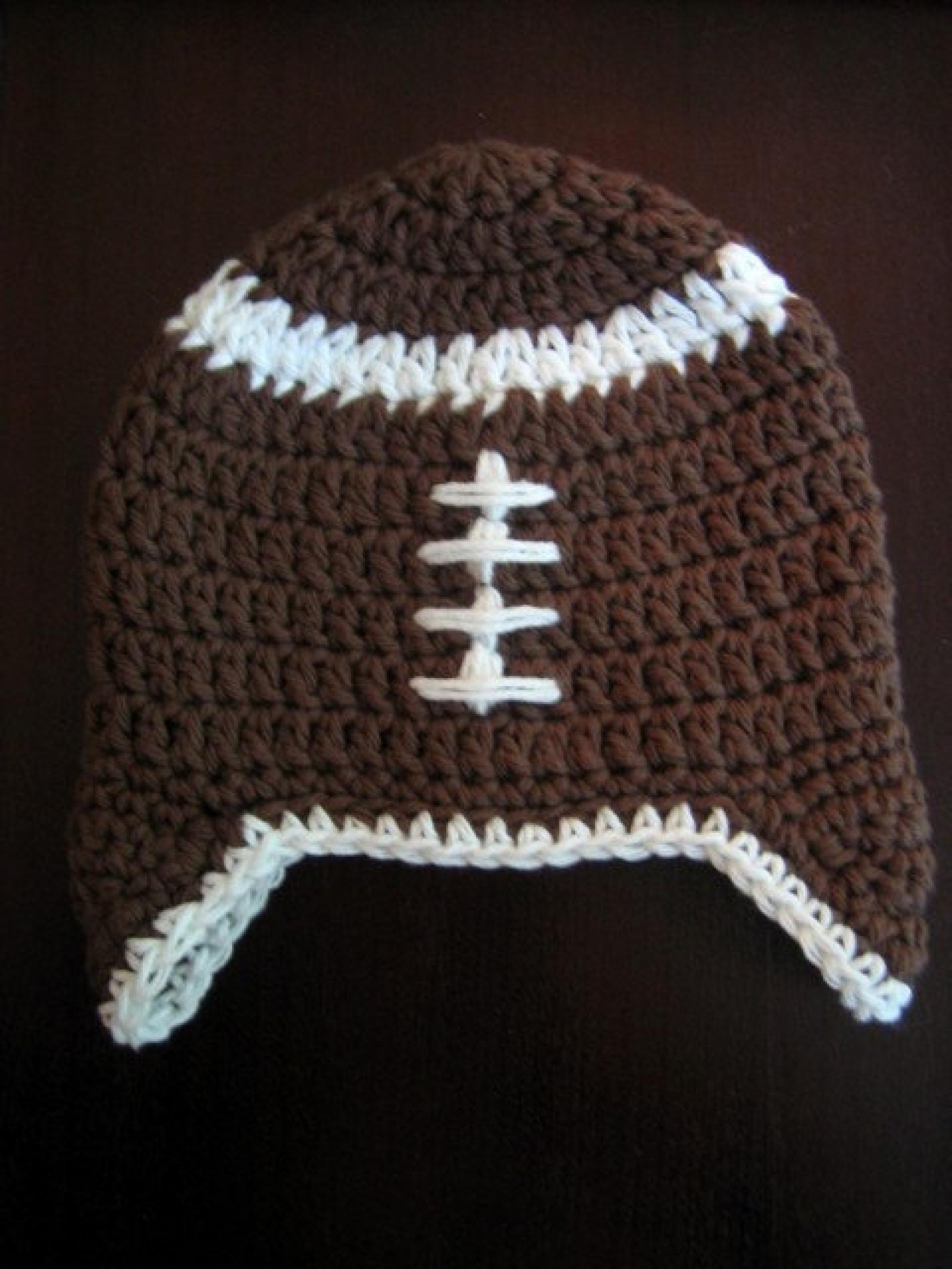 Crochet Pattern Football Earflap Hat