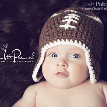 Crochet Pattern Football Earflap Hat