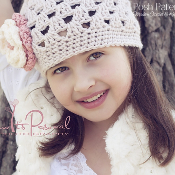 Crochet Hat Pattern - Shell Stitch Beanie & Flower