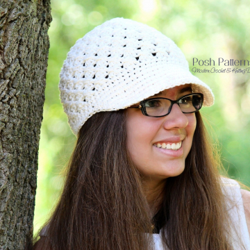 Crochet Newsboy Hat Pattern | Cross Stitch Visor Hat