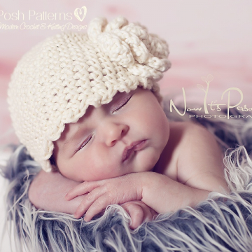 Crochet Pattern Ruffle Edge Hat & Flower | Sizes Baby to Adult