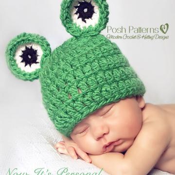 Baby Froggy Hat Crochet Pattern | Frog Beanie | 3 Sizes