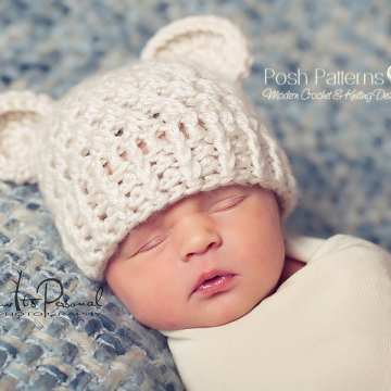 Crochet Pattern Bear Hat - Teddy Bear Beanie Pattern