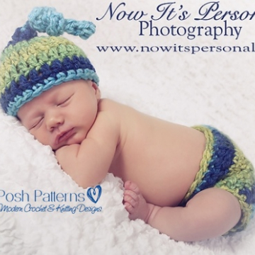 Crochet Patterns Top Knot Beanie and Diaper Cover