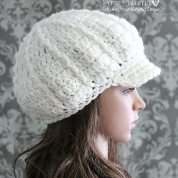 Slouchy Newsboy Hat Crochet Pattern | Fashion Hat