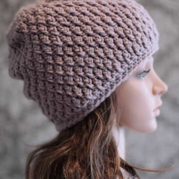 Slouchy Hat Crochet Pattern - Faux Cable Beanie