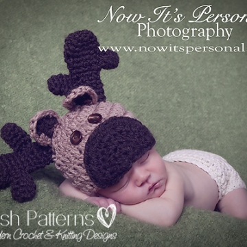 Crochet Moose Hat Pattern | Baby Reindeer Hat Pattern