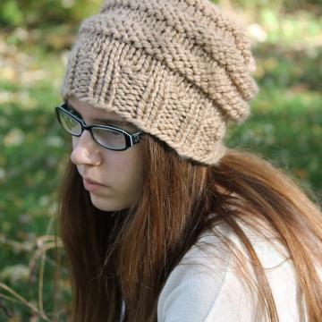 Knitting Pattern - Knit Slouchy Hat Pattern - Beehive Hat