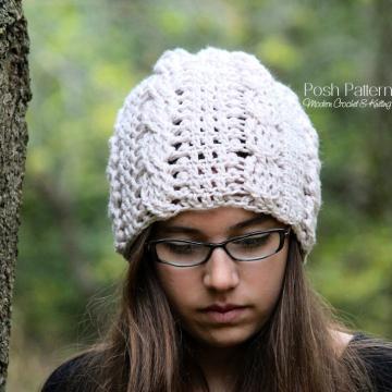 Slouchy Hat Crochet Pattern - Crochet Cable Hat