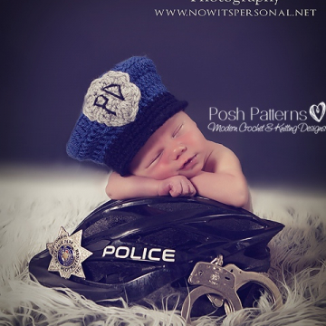 Crochet Pattern Baby Police Man Hat | 3 Sizes
