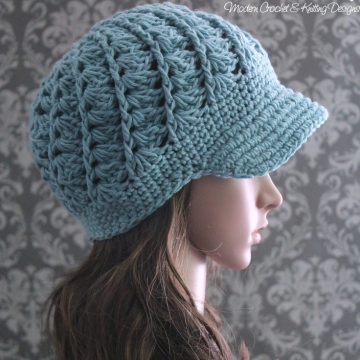 Crochet Newsboy Hat Pattern | Spiral Shell Visor Hat