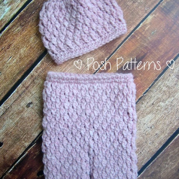 Crochet Pattern Cable Pants and Hat Set | Newborn