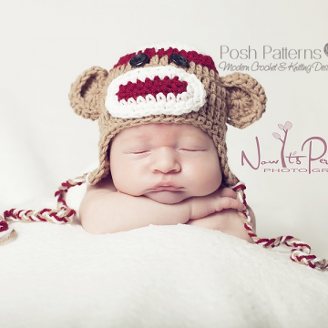 Sock Monkey Hat Crochet Pattern | Baby Earflap Hat