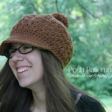 Slouchy Hat Crochet Pattern - Newsboy Hat Pattern