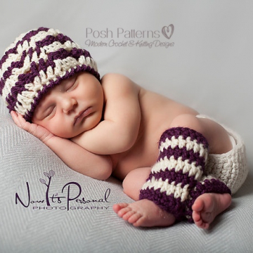 Crochet Pattern Baby Ripple Hat and Leg Warmers