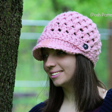 Newsboy Hat Crochet Pattern - Cross Stitch Visor Hat