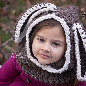 Bunny Hooded Cowl Crochet Pattern