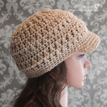 Cluster Crochet Newsboy Hat Pattern | Visor Hat