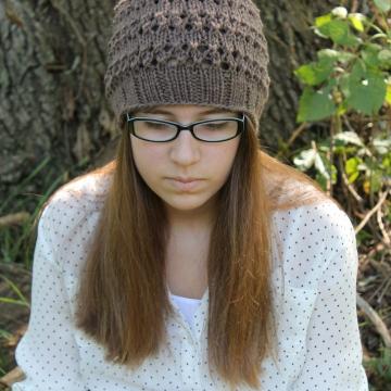 Eyelet Lace Hat Knitting Pattern - Girls Hat Pattern
