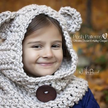 Bear Hooded Cowl Crochet Pattern - Hooded Scarf