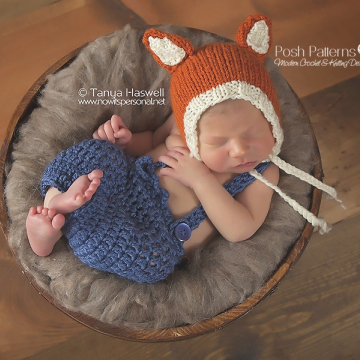 Baby Fox Bonnet Knitting Pattern - Newborn
