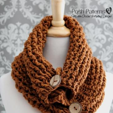 Elegant Button Cowl Crochet Pattern - Infinity Circle Scarf