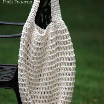 Crochet Pattern Easy Market Bag   Green Reusable Shopping Bag